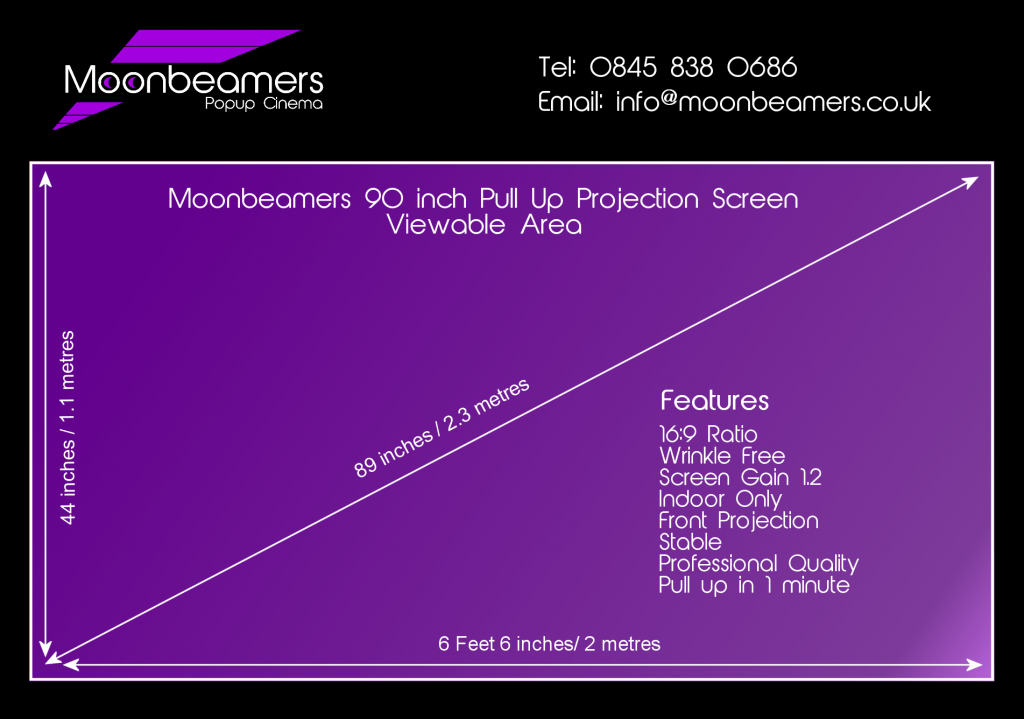 90 Inch Pull Up Projection Screen For Hire Moonbeamers Popup Cinema