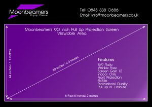 90 inch projection screen specification